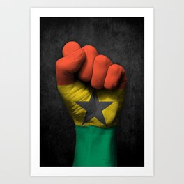 Ghana Flag on a Raised Clenched Fist Art Print