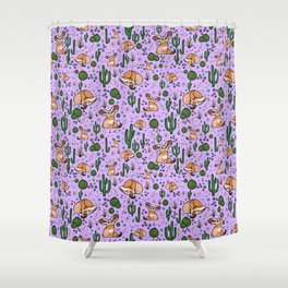 Cute Cactus and Fennec Fox Shower Curtain