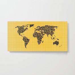 Yellow world map Metal Print