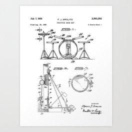 Drum Set Patent - Drummer Art - Black And White Art Print