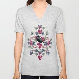 Crows, Bleeding Hearts & Roses Floral/Botanical Pattern Unisex V-Neck