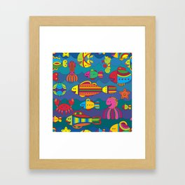 Stylize fantasy fishes under water Framed Art Print