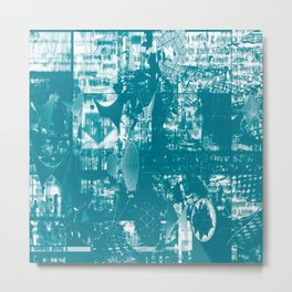 Paragon City Is Calling [Now In Duotone - Teal] Metal Print
