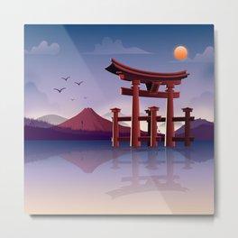 Modern Torii Gate Landscape Metal Print