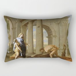 Nicolas Poussin - Theseus Finds His Father's Sword Rectangular Pillow