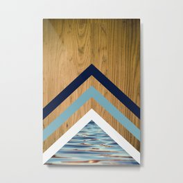 Wood Water Waves Geometric Hipster Triangels Metal Print