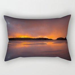 Sunset With Orange Sky Reflections On The Icy Lake #decor #society6 #homedecor #buyart Rectangular Pillow
