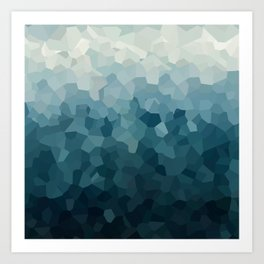 Ice Blue Mountains Moon Love Art Print