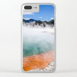 Champagne Pool hot lake in Waiotapu, Rotorua, New Zealand Clear iPhone Case