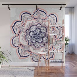Woven Dream - Mandala in Pink, White and deep Purple Wall Mural