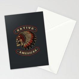 Native American Indian Skull headdress Stationery Cards