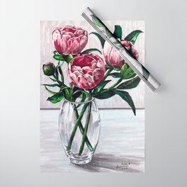Peonies in a vase marers art Wrapping Paper