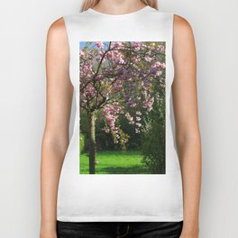 Young Cherry Tree Sakura Blossoming In Spring Biker Tank
