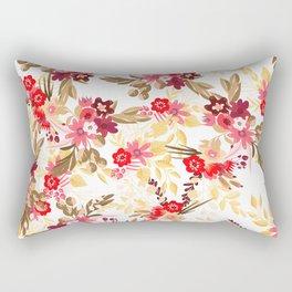 Pastel pink red brown modern hand drawn fall floral illustration Rectangular Pillow