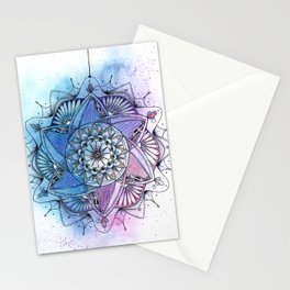 Purple Mandala Ink and Watercolor Art Stationery Cards