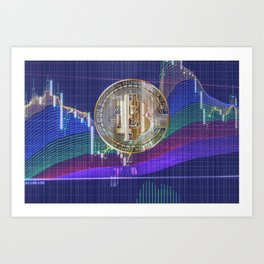 Bitcoin virtual currency blockchain digital technology concept Art Print