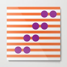 Geometric Stripe & Spot Large Orange & Purple Metal Print