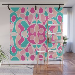 Girly Modern Pink Coral Teal Abstract Geometric Wall Mural