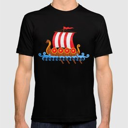 Cartoon Viking Ship T-shirt