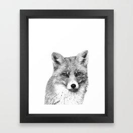 Black and White Fox Framed Art Print