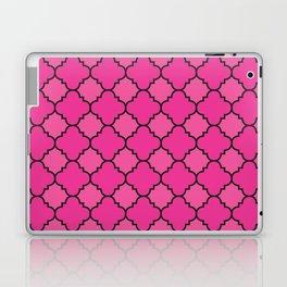 Quatrefoil - Pink & Black Laptop & iPad Skin