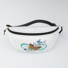 Infinity with an Orange Butterfly Fanny Pack