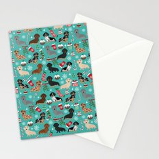 Dachshund Christmas festive doxie pet portrait holiday themed dog lover must haves Stationery Cards