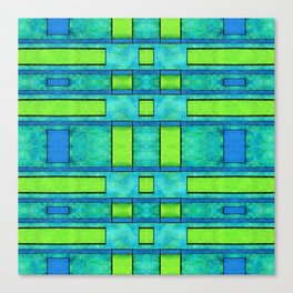 Painted blue and green parallel bars Canvas Print