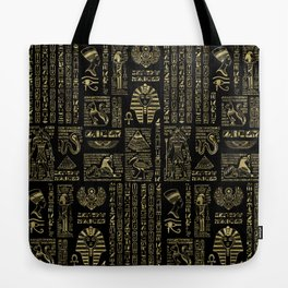 Egyptian hieroglyphs and deities gold on black Tote Bag