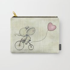 Cute Elephant riding his bike Carry-All Pouch