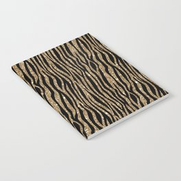 Black & Gold Glitter Animal Print Notebook