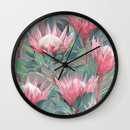 Pink Painted King Proteas on grey Wall Clock