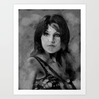 Madeline Smith Black and White Art Print
