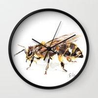 bee Wall Clocks featuring Bee by Elena Sandovici