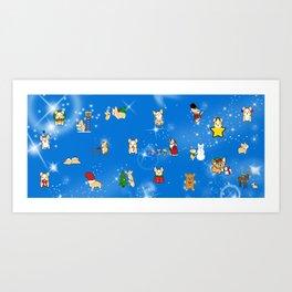 Corgi Christmas Art Print