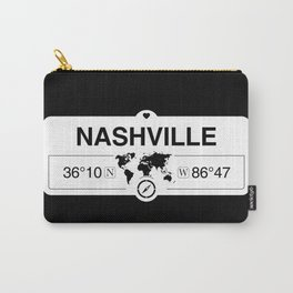 Nashville Tennessee Map GPS Coordinates Artwork with Compass Carry-All Pouch