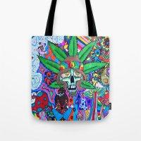 hippie Tote Bags featuring Hippie by Allie_gator