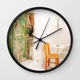 Charming Wooden Chair on Santorini Island Greece Wall Clock