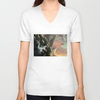 dragons V-neck T-shirts featuring Dragons by Nell Fallcard