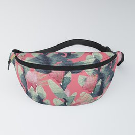 Coral pink navy blue mint green watercolor floral Fanny Pack
