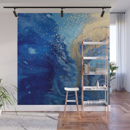 Abstract Pour Painting Liquid Marble Abstract Blue Painting Gold Accent Wall Mural