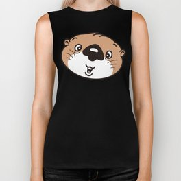 the face of the baby sea otter Biker Tank