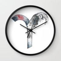 aries Wall Clocks featuring Aries by Susana Miranda ilustración
