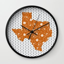 Texan texas longhorns orange and white university college football dots Wall Clock