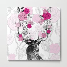 The Stag and Roses Metal Print