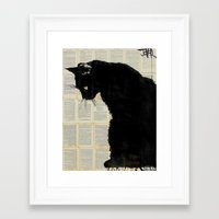 black cat Framed Art Prints featuring CAT BLACK by LouiJoverArt