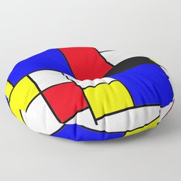 Red Blue Yellow Geometric Squares Floor Pillow