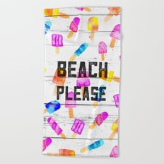 Summer beach typography ice cream watercolor wood Beach Towel