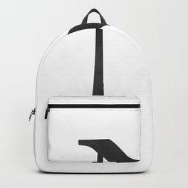 Letter N Initial Monogram Black and White Backpack