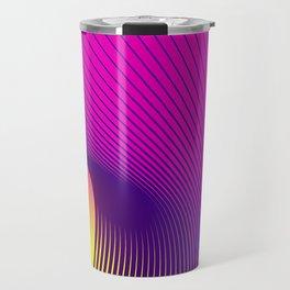 Greeting card of purple and purple lines of smoke on an orange background. Travel Mug